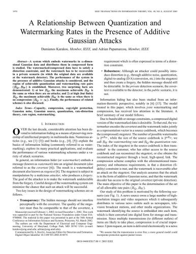 دانلود کتاب A Relationship Between Quantization and Watermarking Rates in the Presence of Gaussian Attacks از ستاتیرا